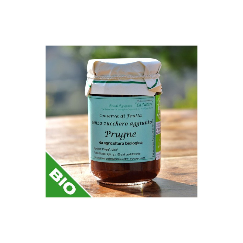 "Plum jam with no sugar added- 300 gr. Azienda Agriapistica Biologica ""La Natura"""
