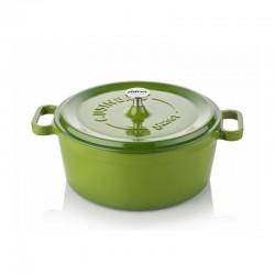 Cast iron cocotte 24 cm green