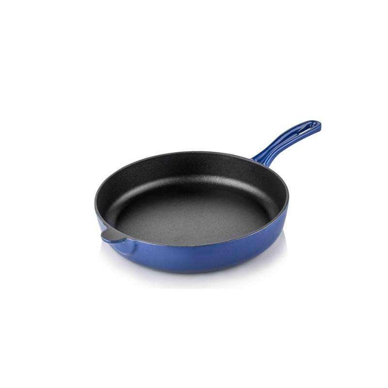 Cast iron flat bottom pan 20 cm blue