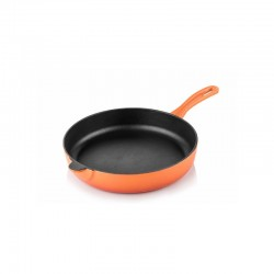 Cast iron flat bottom pan 20 cm orange