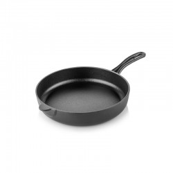 Cast iron flat bottom pan 24 cm black