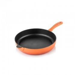 Padella fondo piatto in ghisa 28 cm arancione