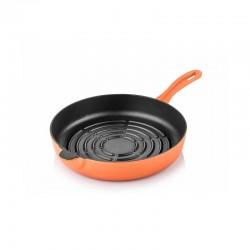 Cast iron grill bottom pan 24 cm orange