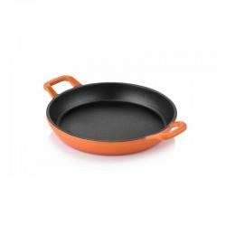 Cast iron double handle flat bottom pan 20 cm orange