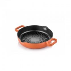 Cast iron double handle grill bottom pan 24 cm orange