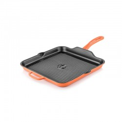 Cast iron square grill pan 30x30 cm orange