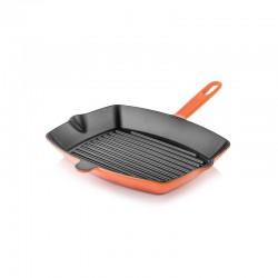 Padella grill in ghisa rettangolare 26x32 cm arancione