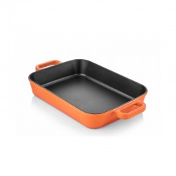 Cast iron backing dish 22x30 cm orange