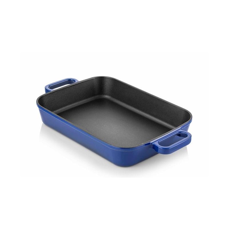 Cast iron backing dish 22x30 cm blue
