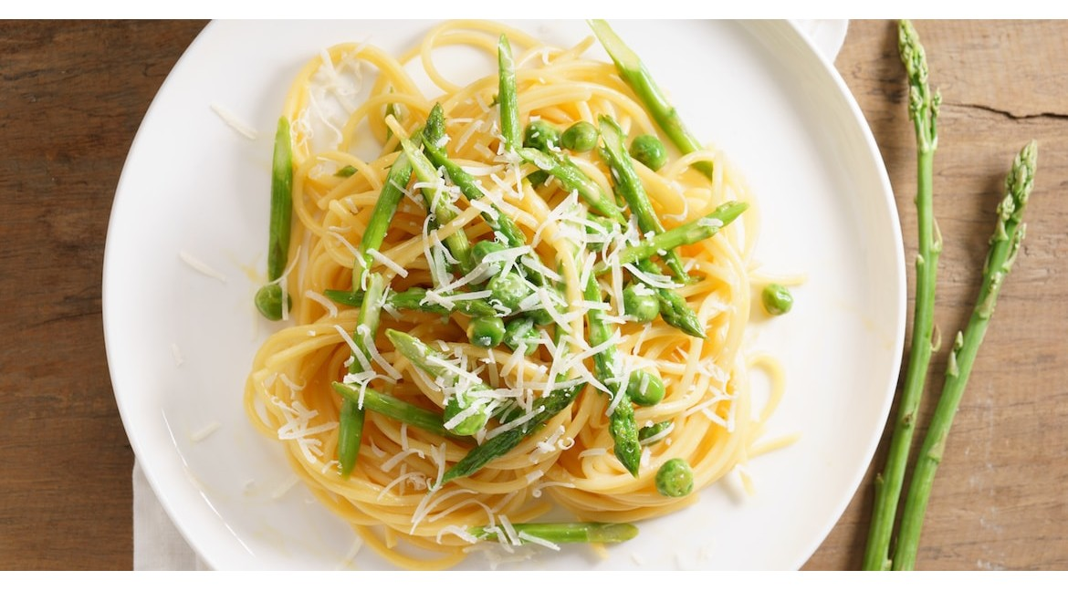 Spring Spaghetti with Parmesan Cheese